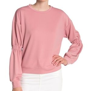Anthropologie Ro & De Pink Gathered Sleeve Sweater